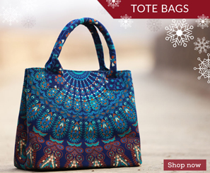 Tote Bags by Jaipur Art Factory- These astonishing hand printed and stitched Mandala Tote bags are made in India with a lot of attention to detail.